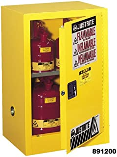 Justrite 891520 Sure-Grip EX Galvanized Steel 1 Door Self-Close Flammable Compac Safety Storage Cabinet, 15 Gallon Capacity, 23-1/4