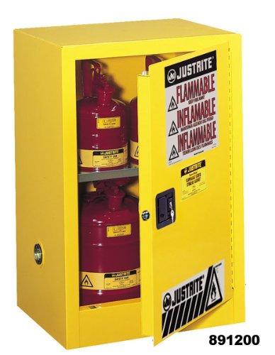 Justrite 890401 Sure-Grip EX Galvanized Steel 1 Door Manual Flammable Countertop Safety Storage Cabinet, 4 Gallon Capacity, 17' Width x 22' Height x 17' Depth, 1 Adjustable Shelf, Red