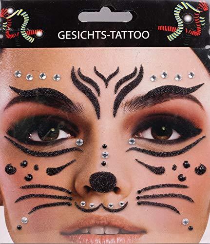 Gesichts-Tattoo - Glitzer Aufkleber Set Klebetattoos Temporäre Tattoos Halloween/Karneval (Katze)