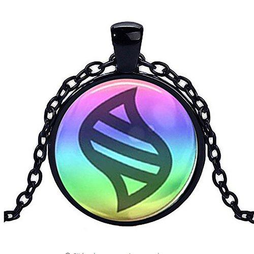Game Ball Mega Stone Chain Black Necklace Game Fashion Charm Glass Cabochon Toy Pendant