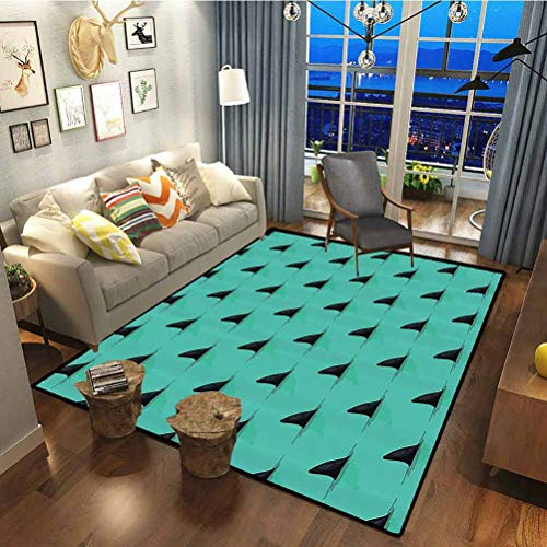 Marine Decor Polyester Large Size Doormat for Bedroom Dorm Home Girls Kids Shark Fins in The Sea Danger in Ocean Scary Creature Swimming Illustration Seafoam Black 7.5 x 5 ft