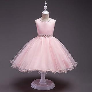 Wedding Party Bridesmaid Belt Dress Age 3-12Y Fashion Flower Girls Dress (Color : Pink, Size : 100cm)