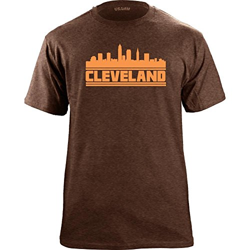 Original Cleveland Ohio City Skyline T-Shirt (Large, Ultra-Thin Brown)