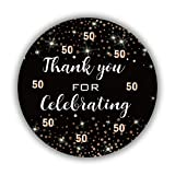 Black and Gold 50th Birthday Thank You Stickers, 50th Birthday Party Favor Labels, 50th Birthday Party Decor, 50 Stickers 1.75 inches.