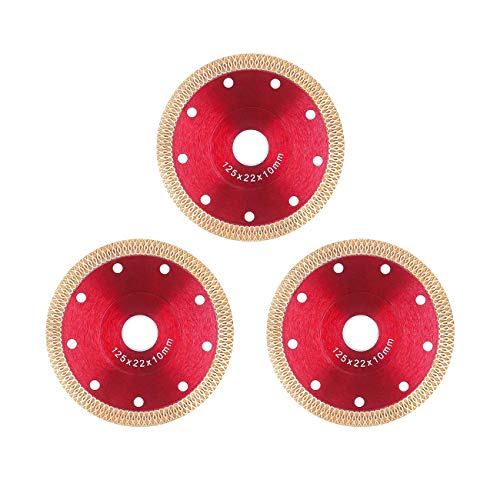 5 inch Diamond Saw Blade Porcelain Cutting Disc Wheel for Cutting Porcelain Tiles Granite Marble Ceramics Works with Tile Saw and Angle Grinder, 3 Pack