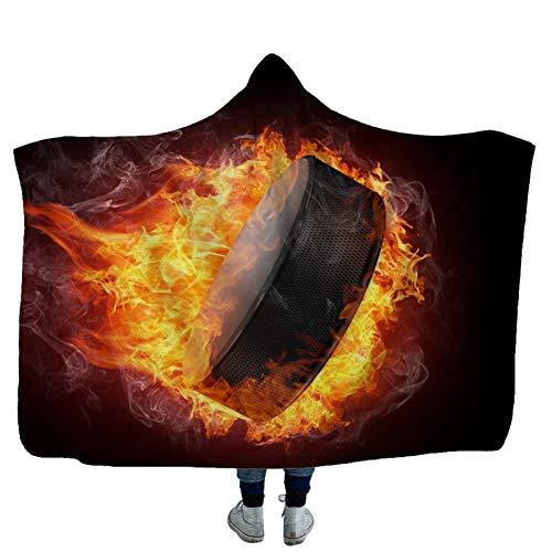 Warm Weich Kapuzendecke Mit Kapuze Decke Eishockey 3D Gedruckte Spieldecke Erwachsene Kinder Wohndecke Sofadecke Schlafdecke Pelzdecke Couchdecke Praktisch Winter TV Wearable Decke,7,150×200cm