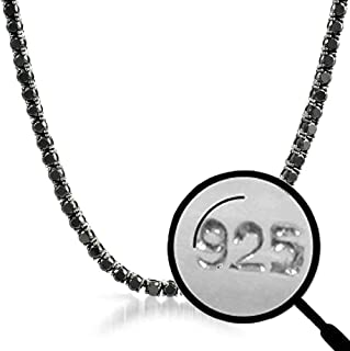 "Harlembling Solid 925 Sterling Silver Men's Black Tennis Chain - 18-30"" - 3mm 4mm 5mm 6mm - Iced Hip Hop CZ Men's One Row Chain - Real Oxidized Solid Silver Chain Black CZ"