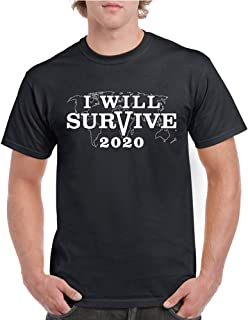 Unisex T-Shirt Shortsleeve for Men and Women Co-vid-19 Warning Coro-navirus Survived from The Virus World Tour Tee