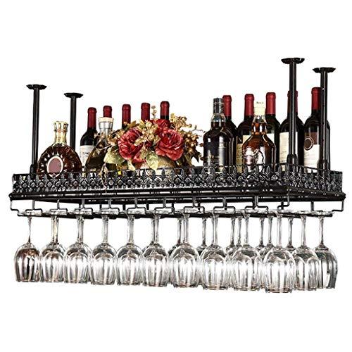 Weinglashalter Metall Decke Weinregale Lagerung, Schwarz Bronze Weinkelch Stemware Glas Rack, Hängende Weinglas Halter Bar Dekoration Display Regal (größe : 120×35cm)