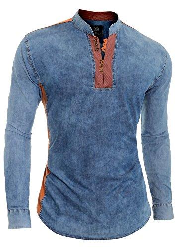 D&R Fashion Camicia in Denim Blu da Uomo V-Collo Colletto alla Coreana Toppa sui Gomiti L