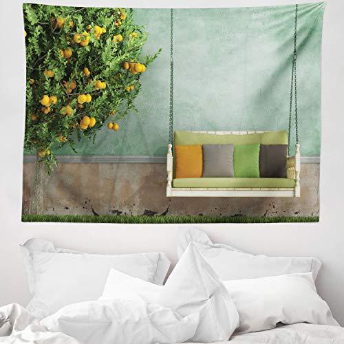 ABAKUHAUS Tuin Wandtapijt, Houten schommel in de tuin, Stoffen Muurdecoratie voor Woonkamer Slaapkamer Slaapzaa, 150 x 110 cm, Geel groen