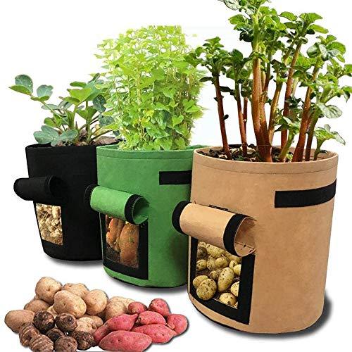 ETE ETMATE 3 Stks 10 Gallons Aardappel plantenzak verdikte niet-geweven plantenbak met bloem handvatten stof bloempotten Geen graven aarde gemakkelijk te oogsten bloempotten gebruikt voor groenten