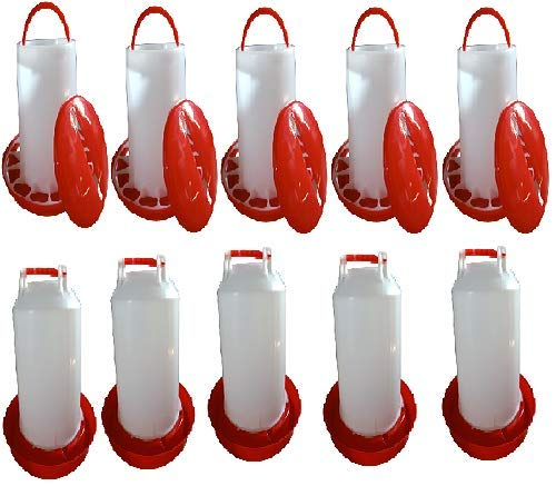 TM&W-Chicken, Quail and All Other Birds Feeders & Drinkers Qty- (14 Litre Drinker-5 PCS and 9 KG Feeder -5 PCS=10 PCS Total)