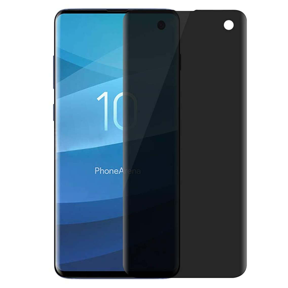 [Fingerprint ID Compatible] Galaxy S10 Screen Protector Privacy [Full Adhesive] AMOVO Flexible Tempered Glass for Samsung Galaxy S10 [Full Coverage] [Case Friendly] [Anti Spy] (Galaxy S10, Privacy)