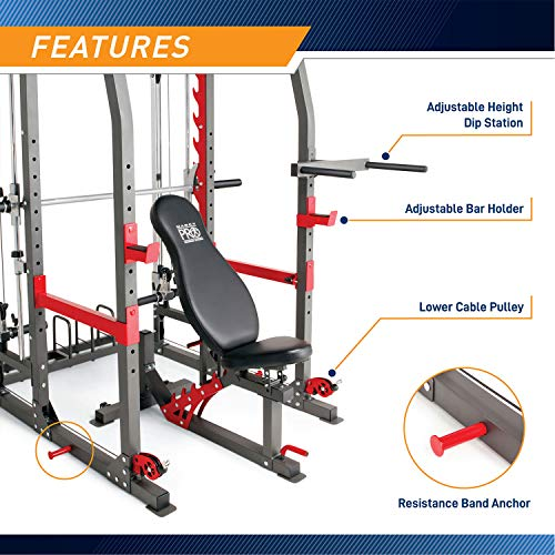 Marcy Pro Smith Machine Weight Bench Home Gym Total Body Workout Training System