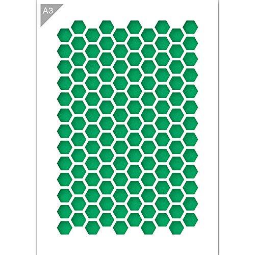 QBIX Sechseck Schablone - Wabenschablone - Muster Schablone - A3 Größe - wiederverwendbare Kinder freundlich DIY Schablone zum Malen, Backen, Basteln, Wand, Möbel