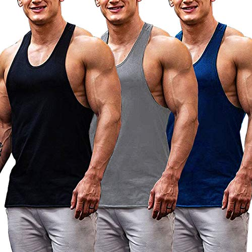 COOFANDY Men's 3 Pack Gym Tank Tops Y-Back Workout Muscle Tee Fitness Bodybuilding T Shirts (Black/Navy/Medium Gray-, Large)