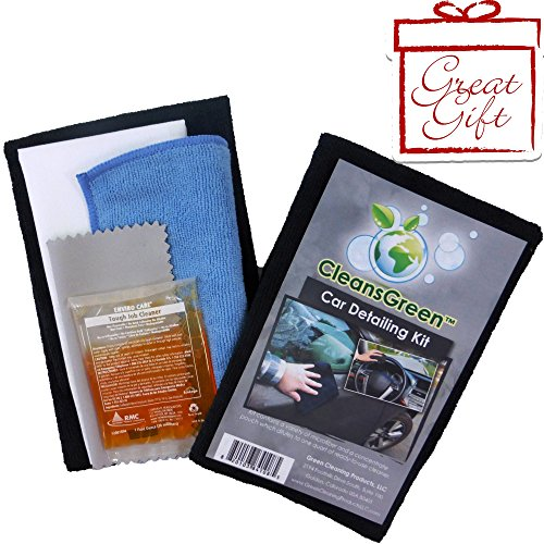 CleansGreen Auto Detailing, Care and Cleaning Kit Complete with Several Products & Supplies incl. Cleaner, Best Microfiber Towels, Cloth, Bonus Reusable Wipes Best to Wash, Detail Your Car Interior