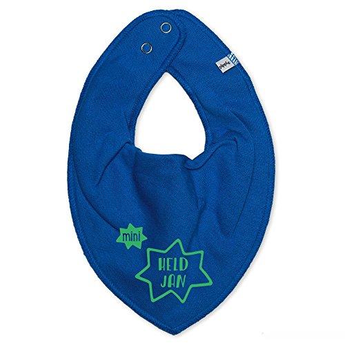 Halstuch mit Namen | Motiv mini Held | bedrucken & personalisieren | Lätzchen für Baby & Kinder 0-2 Jahre | perfektes Geschenk zur Geburt und Taufe
