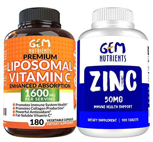 Gem Nutrients Zinc Gluconate 50mg, 100 Tablets High Potency Immune System Support and Booster and Liposomal Vitamin C 1600mg, 180 Capsules - High Absorption, Fat Soluble, Antioxidant Supplement-Bundle
