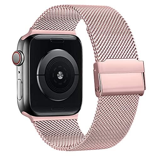 Fook Correa Compatible con Apple Watch 38mm 40mm 42mm 44mm,Pulsera de Repuesto de Acero Inoxidable Correa para iWatch Series SE 6 5 4 3 2 1,42mm/44mm Rosa
