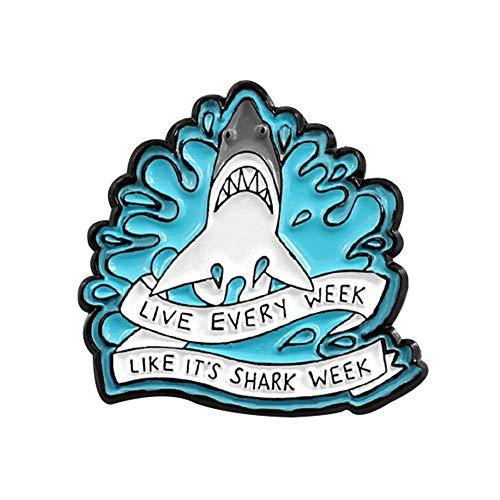SOQNVLN Brooch Pins for Women, Cartoon Shark Wave Letter Enamel Brooch Pin Denim Jacket Collar Backpack Badge (Blue)