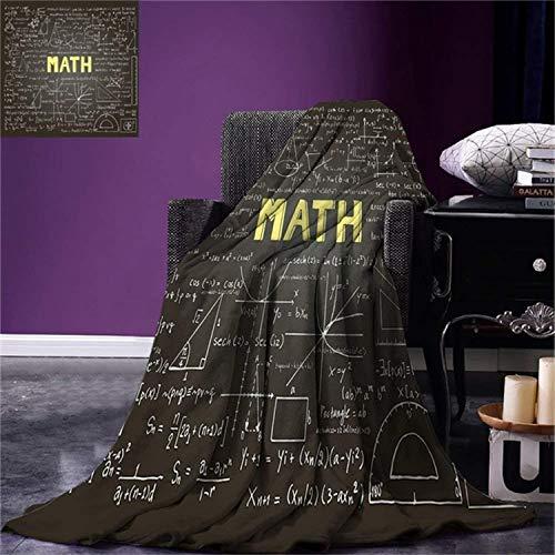 QNWLKJ Coperta Matematica Classroom Decor Lavagna Scura Parola Equazioni Matematiche ASSE Geometria Calda Microfibra Blanket Morbida 70X100Cm