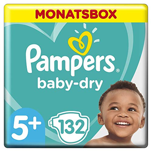 Pampers Baby-Dry Windeln, Gr. 5+, 12kg-17kg, Monatsbox (1 x 132 Windeln)
