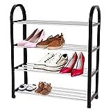 Rehomy Schuhregal,4 Tiers Kunststoff + Aluminium DIY Schuhaufbewahrung Regal Home Organizer für Wohnzimmer, Garderobe und Flur,50 x 19 x 58cm
