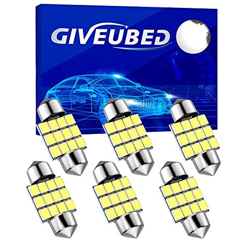 DE3175 Led Car Bulb, 31mm 1.22in 3175 Festoon Led Car Lights Bulb, Super bright white DE3021 DE3022 Led Car Bulb Fit for Interior Map Door Dome lights, Pack of 6pcs