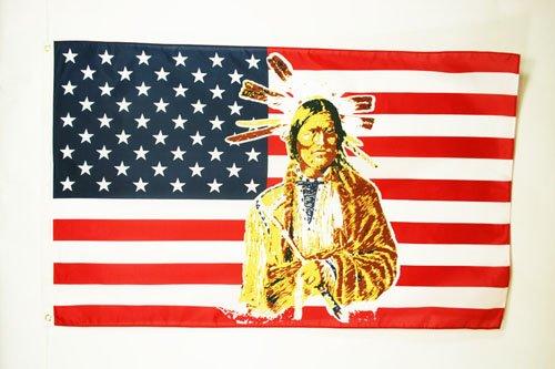 AZ FLAG Drapeau USA avec Indien 150x90cm - Drapeau américain - Etats-Unis 90 x 150 cm - Drapeaux