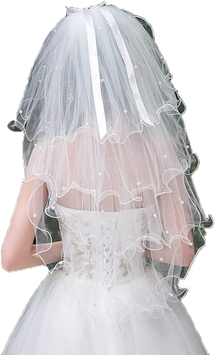 4T Bridal Veil Short Elbow Length Veil Red Petals bow Veil Tulle Veil Women's Wedding Veil