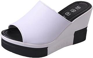 LuckyGirls Cuñas Sandalias Mujer Chancleta Verano Color de Hechizo Moda Cómodos Casual Zapatos de 12cm Tacón Chanclas Zapatillas de Suela Gruesa
