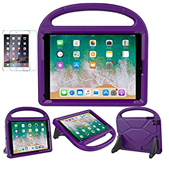 iPad 9.7 2018 / 2017 / Air 1/2 / Pro 9.7 Case for Kids - SUPLIK Durable Shockproof Protective Handle Bumper Stand Cover with Screen Protector for iPad 9.7 inch 5th/6th Generation Purple