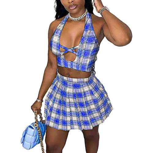 Women's Sexy Two Piece Outfit Fashion Strap Crop Top Mini Skirts Set Night Party Clubwear Blue S
