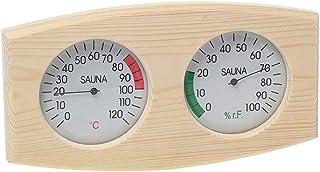 Fenteer Grain de bois Sauna Thermomètre et Hygromètre 2 dans 1 Bois Hygrothermographe En Plein Air Intérieur Sauna Ménage ...