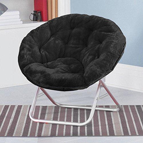 Mainstay Faux-Fur Saucer Chair, Multiple Colors (Black)