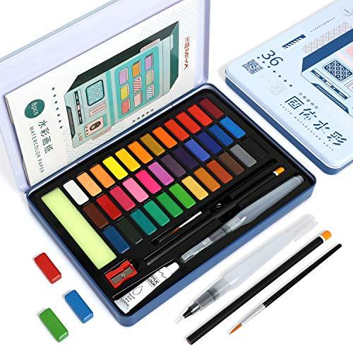 HIMI - Set de Pintura de Acuarelas, 36 colores Caja de Acuarela Portátil con 2 Pinceles de Pintura, Lápiz, 8 Papel de acuarela - para Estudiantes, Niños, Principiantes (caja azul)