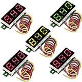 RUNCCI-YUN 5 Piezas Mini Digital voltímetro, Mini Digital LED Voltímetro, LED Voltímetro 3...
