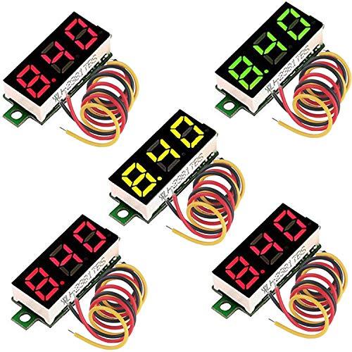 RUNCCI-YUN 5 Piezas Mini Digital voltímetro, Mini Digital LED Voltímetro, LED Voltímetro 3 Cables, DC 0-100V 0.28 Pulgadas Mini Voltímetro Digital
