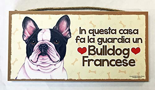 MAXIM BOLZANO SRL Bulldog Francese targhetta in Legno da Appendere