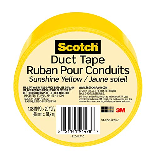 3M Scotch Duct Tape, Sunshine Yellow, 1.88-Inch by 20-Yard - 920-YLW-C