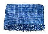 ADP Home - Plaid/Colcha Multiusos Jaspeado Ideal para Cama o Sofá (Medida: 180X260 cm), Azul