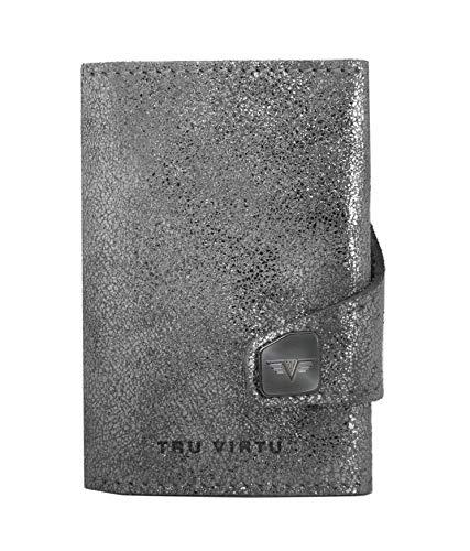 TRU Virtu® Geldbörse RFID/NFC Schutz - Portemonnaie Click & Slide Glitter Silvergrey/Silver - Kartenetui mit Scheinfach aus Aluminium & Leder für Herren - 9,9 x 6,7 x 2,1 cm