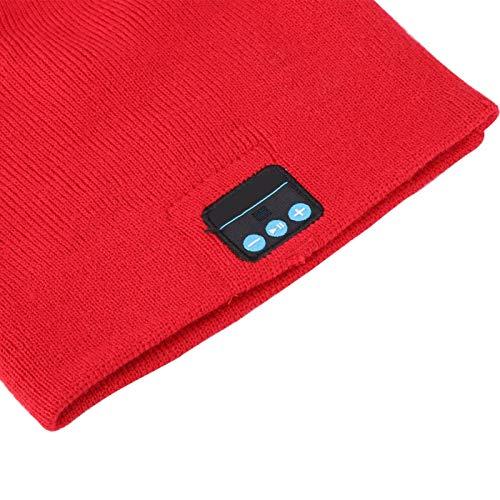 DAUERHAFT Sombrero inalámbrico cálido de Fibra acrílica BT Sombrero de música BT Calentamiento Escuchar música(Big Red)