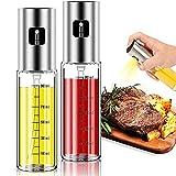 2 Pack Oil Sprayer for Cooking, Olive Oil Sprayer Mister for Air Fryer Kitchen Glass Bottle Versatile Spray Oil Dispenser Refillable Vinegar Spritzer for BBQ Salad Baking Roasting Grilling