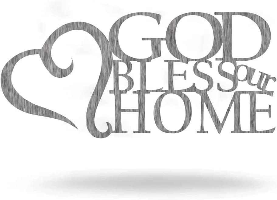 """God Bless Our Home - Steel Roots Decor Wall Art - Ready To Hang Family Wall Decor For Home And Kitchen Decoration, Gift For Housewarming, Anniversary - Metal Wall Home Decor - (18"""" Polished Charcoal)"""