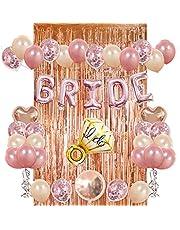 مجموعة زنية لحفلات العرائس - ستارة مكشكشة باوراق معدنية لون ذهبي وردي، 20 بالون مطاطي، 10 بالونات بقصاصات لامعة، وبالونات مايلر بشكل دائرة وقلب وخاتم وكلمة برايد (عروس) بلون ذهبي وردي