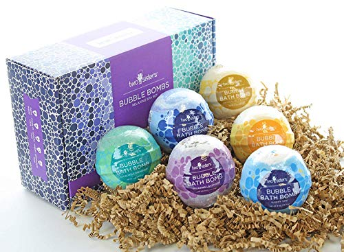 6 Relaxing Bubble Bath Bombs by Two Sisters Spa. 6-5oz Large 99% Natural Fizzies for Women, Teens and Kids. Moisturizes Dry Sensitive Skin. Releases Color, Scent, and Bubbles. Lavender, Eucalyptus
