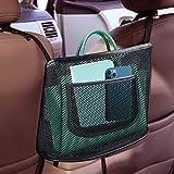 Car Net Pocket Handbag Holder,Seat Back Net Bag for Purse Storage Phone Documents Pocket,Barrier of Backseat Pet Kids,Cargo Tissue Holder (black2)